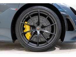 10スポーク・スーパーライトウェイトホイールはステルス仕上げ、スペシャルブレーキキャリパーはイエローが組み合わされ、足元を引き締めます。