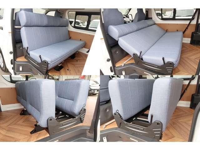 REVOシートFWで しかも150cmを幅は 価格帯が高くても使う理由! 座面・背もたれの入れかえ時に成形・フラット! ハイバックを移動できることで後ろ向きでも違和感のない座席として使用可能!