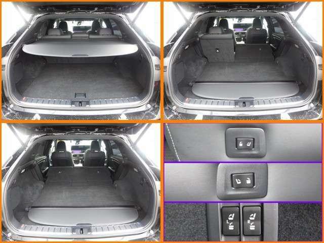 ◆トノカバ-が付いたラゲッジル-ム、リヤは6:4の分割シ-トになつています。乗車人数や荷物の量によってアレンジして下さい、シートのサイドとラゲッジル-ムにあるスイッチで電動で背もたれを動かせます。