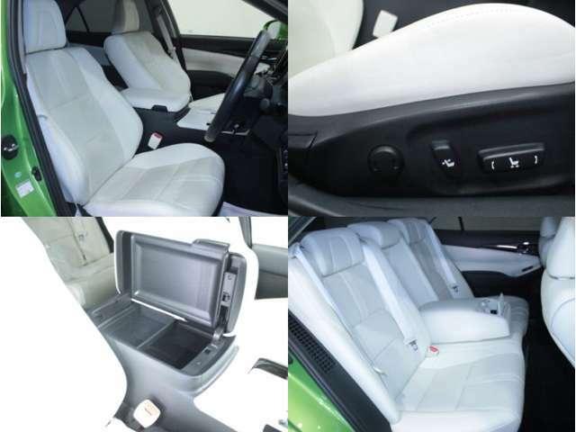 【運転席】ブラックを基調としたインテリアにホワイトのレザーシート。パワーシートでお好みの位置に座席を設定可能です。シートヒーター・エアコン・純正フロアマット付です。