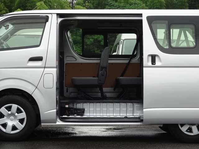 片側スライドドア(スライド式リヤサイドガラス付)です。★市販されている3/6/9人乗りの車両に、両側スライドドアの設定はありません。