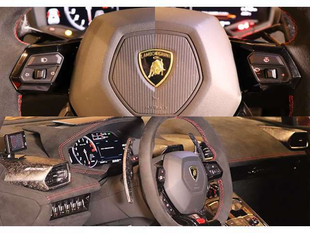 フルアルカンターラ多機能ステアリング。ウィンカー、ワイパー、走行モード選択スイッチなどが配置されています。