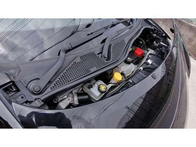 ボンネットの下は、バッテリーやブレーキ系が収まっています。フードは樹脂製の板で、開けるというより、外す、という感じです。