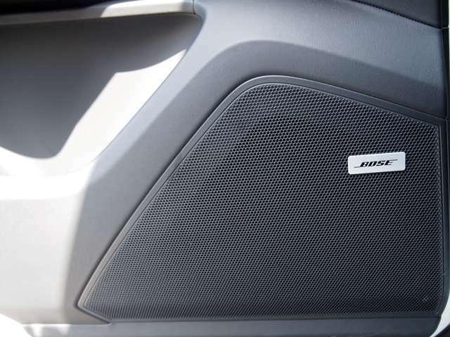 BOSEサラウンドシステム。車内の音響特性にあわせてチューニングされております。お好きな曲を聴きながら、ドライブをお楽しみください!