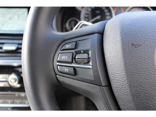 ステアリング左側にはクルーズコントロール及びリミッターの設定ボタンが配置されています。