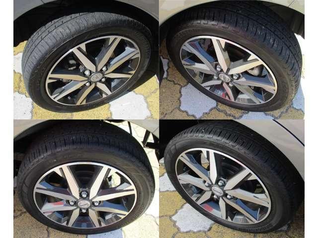 4本のタイヤそれぞれの写真です。
