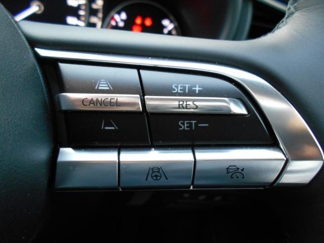 設定した速度内で前方を走る車を追従走行できるMRC(マツダ・レーダークルーズ・コントロール)は全車速追従型!中高速域での衝突軽減ブレーキとの相互制御により高速運転時の快適と安全をサポートします!