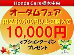 今だけ秋だけオプション3万円以上ご購入頂いたお客様へ1万円のオプションクーポンをプレゼント♪ドラレコ、ボディーコートなど人気のオプションが、お得になります。♪