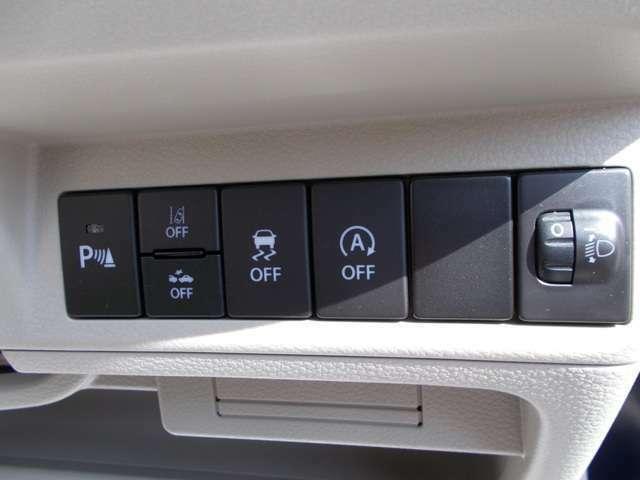 アイドリングストップオフなどの各スイッチ☆アイドリングストップ中のエアコンは冷風から送風に切り替わりますが、暑い日にはずっと涼しくしておきたいですよね?そんな時はオフにしてドライブを楽しみましょう!