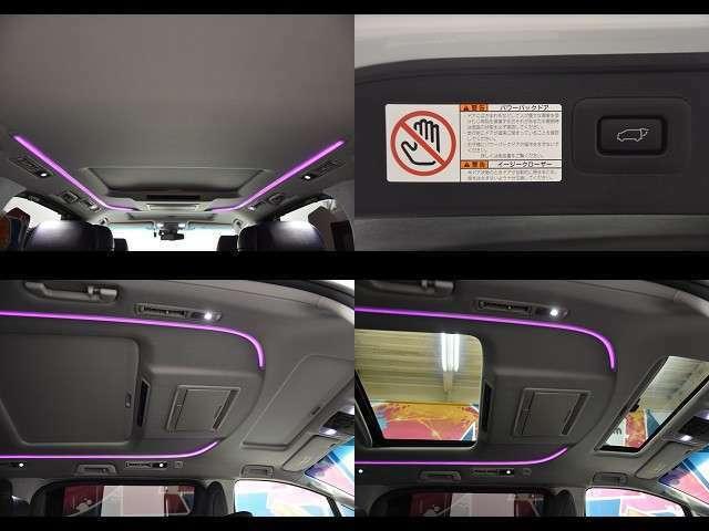 パワーバックドアも標準装備です★重たいリヤゲートもスイッチ1つでクローズします☆ダブルサンルーフ付いてます!明るく開放的なドライブで楽しくなります♪気分で変えられるLEDルーフカラーイルミネーション★