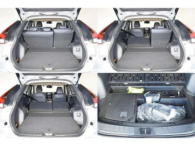 リヤシートを分割して倒せますので、工夫次第で色々な荷物が積めます。漏電遮断機能や充電状況を常に監視・表示するコントロールボックスが装備された充電ケーブルも付属しています!
