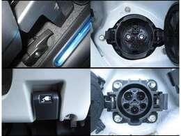 運転席側に普通充電リッド、助手席側に急速充電リッドが付いています。
