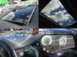 サンルーフ動作確認済み ルーフカーボン調ラッピングシート 社外ヘッドライト装備