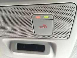 SOSコール機能。急病時や危険を感じた時に押して頂くとオペレーターと繋がります。エアバックが開くと連動し自動でオペレーターに繋がり安心です。