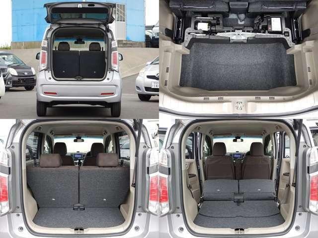 【ハッチバック開口時】後部座席は便利な分割可倒式です♪座席を倒せば広い荷室になります♪荷室下も収納スペースになっているので荷物をたくさん積めますよ♪