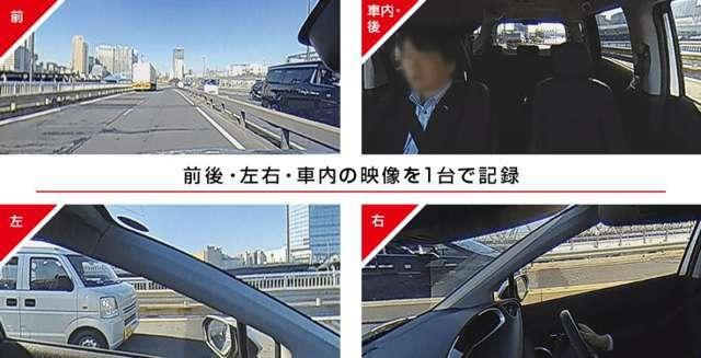 前後・左右・車内の映像を一台で記録。