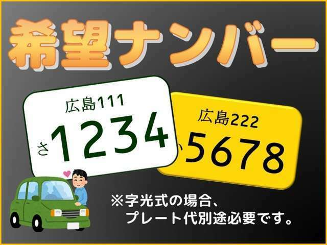 Aプラン画像:希望ナンバー費用:5400円プレート代:3,860円=9260円(税込み)