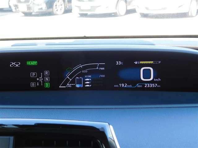 4.7インチツインカラー液晶ディスプレイのメーターパネル。燃費情報など様々な情報を表示させることが可能です。走行距離は23357km(入荷時)