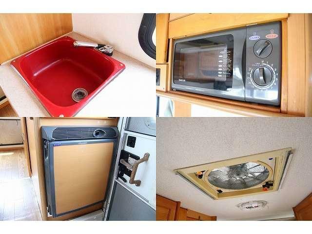 給排水シンク 電子レンジ 冷蔵庫(40L) ルーフベント付きになります♪