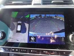 アラウンドビューモニター画像になります。4方向のカメラ画像を加工して上から見た様な映像にしバック駐車時の死角を無くします。