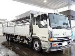 家畜運搬車 積載11.9t 幌付き 左右アオリ開閉式 アルミブロック 2デフ 3軸 低床 リーフサス 荷台サイズ:長さ963cm×幅235cm×高さ200cm 床面地上高112cm