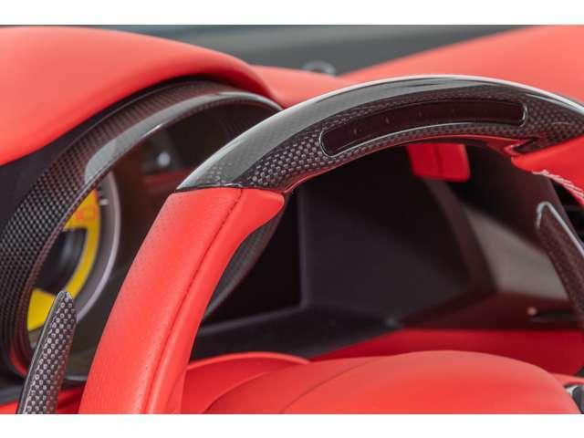 カーボンドライバーゾーン&LEDS、カラードステアリングホイール(ロッソフェラーリ)