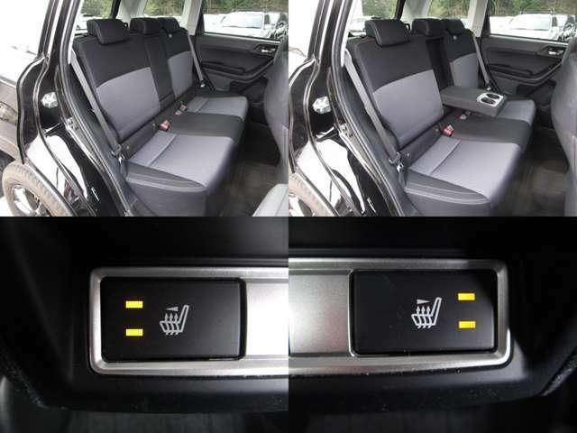 リヤシート センターアームレスト付で、リヤシートにもシートヒーターが付いています。 左右分割可倒式です。