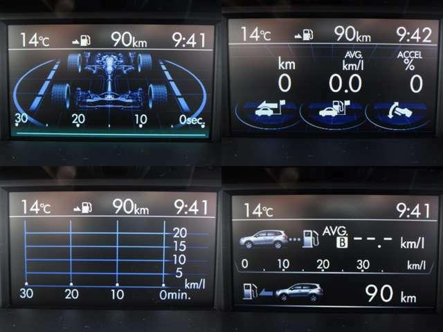 マルチファンクションディスプレイに燃費・アイドリングストップ・航続可能距離等色々な情報を表示します。