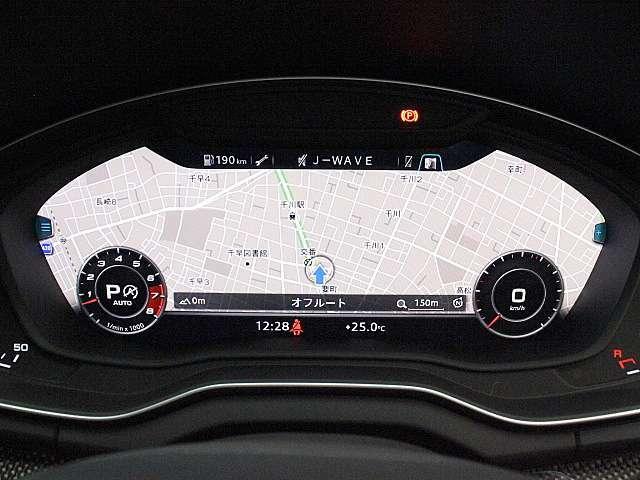 バーチャルコックピット「メーターパネル内に高解像度の液晶ディスプレイを配置。オーディオ・電話の操作画面やナビゲーションの地図などを見やすく表示します。」