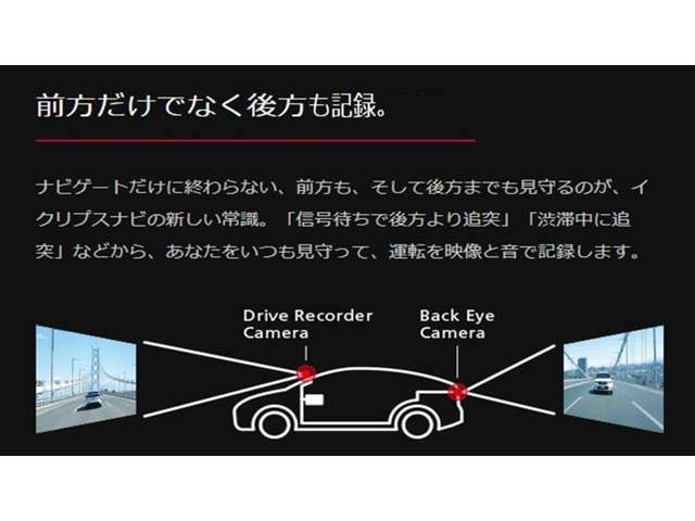 前後録画機能により、信号待ちでの追突、渋滞時の衝突にも対応しています。