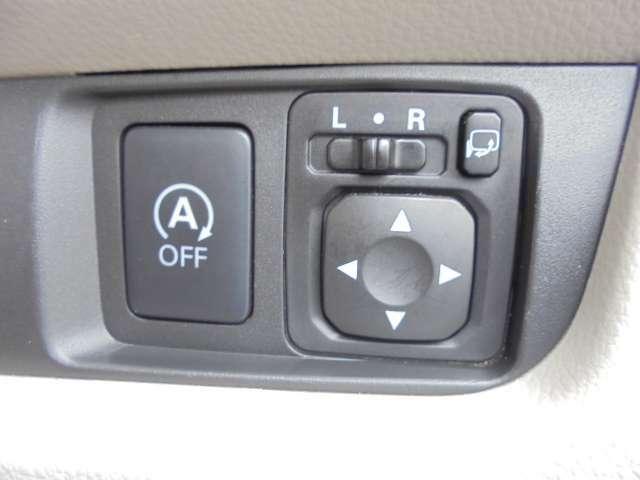 アイドリングストップとリモコンドアミラーのスイッチです。 停車時にガソリンの消費を抑制できるので便利です。