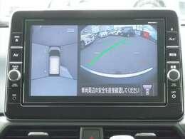 アラウンドビューモニターも装備しております。ご覧のように車体を真上か見たような映像なので、車庫入れの苦手なお客様ももうご心配いりません。