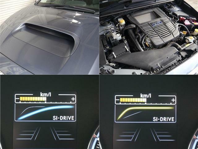 アグレッシブなボンネットスケープ・スバル伝統のボクサー水平対向1.6リッター4気筒ターボエンジン・ボクサー特有のエンジンサウンドに力強い加速!燃費もリッター16キロの実力車・2モードステージSIドライブ