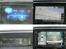 純正メモリーナビ・フルセグ・CD・DVD・ミュージックプレイヤーの接続可能。全方位モニター付きでバック駐車も楽々です。