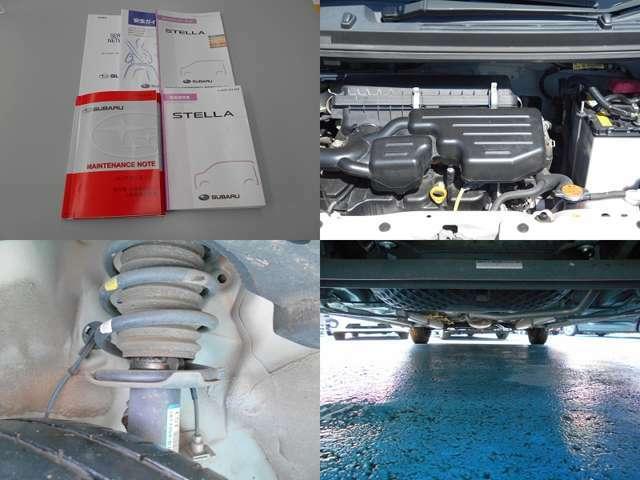 新車整備手帳、取扱説明書等もしっかり残っています!気になるエンジンルームや足回り、下回りの錆や腐りも少なく良好な状態です!当店にて車検時には下回りは洗浄&錆止め塗装を施工してお届けいたします!