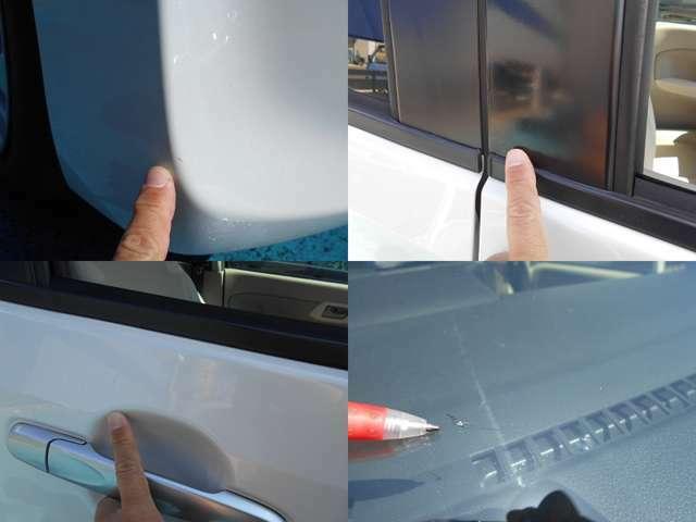 私が気になるキズを画像に撮ってみました。前バンパー右角擦りキズ、運転席付近コキズ、ガラス中央下部リペア跡あり!!その他はコキズやエクボ程度!!板金修理も承りますので気になる方はご相談下さいね!!!