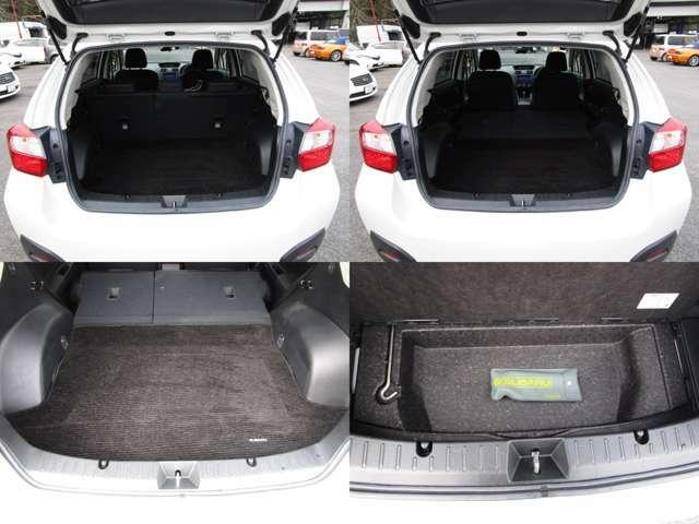 ラゲッジルーム リヤシートを左右可倒すれば、フラットで大きなスペースを確保出来ます。 2段トランク仕様で、純正ラゲッジマット付です。