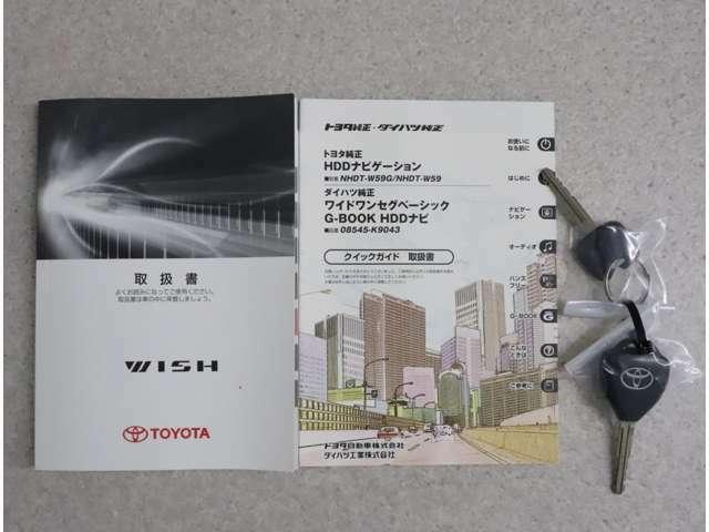 車両の取扱説明書、ナビゲーションの取扱説明書。