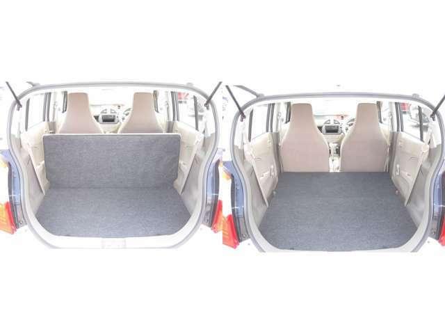 ラゲッジスペースの画像です。リヤシートを倒すと大きな荷物も載せることができます!