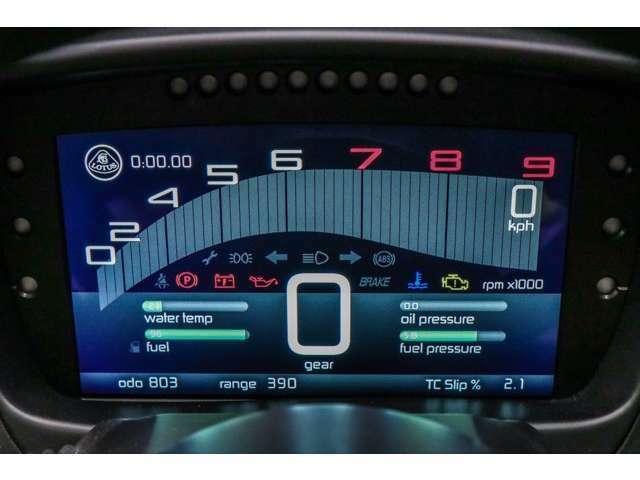 メーターは、液晶で見やすい表示。センターの数字は、ギアが何速なのかの表示、右上の数字が速度です。見やすくなっています。