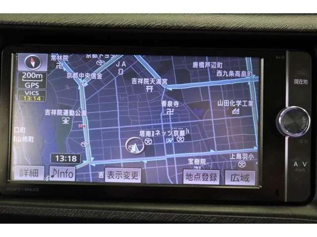純正7インチSDナビ。CD・DVD・フルセグTV対応です。走行中のテレビ視聴は危険なので、車両停車時にお楽しみくださいね。