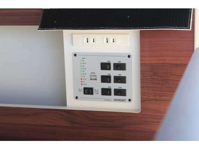 スイッチシステムで電装品を制御します。サブバッテリー電圧確認も。350WのAC100Vコンセント、USBジャック