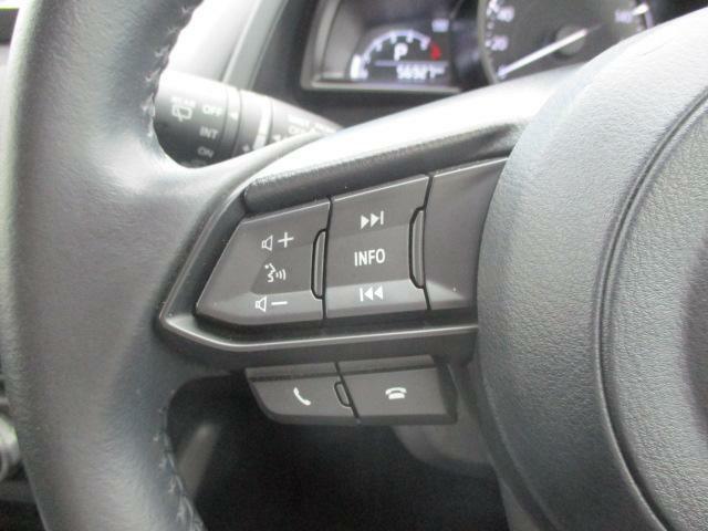 ステアリングには各種スイッチを配置。左手は主にオーディオの操作を行えます。一部機能は音声による操作も可能です。