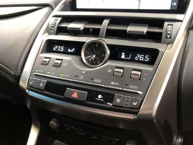【エアコンパネル】機能的でありながらスタイリッシュなエアコンパネル。nanoe機能付き左右独立式オートエアコンに合わせ前席にはシートヒーター/エアシートを装備。