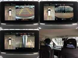【左上&右上&左下】真上から見ているようなトップビューなど、車両周辺の状況が映像で把握できる、360度・カメラシステム  【右下】9インチワイド・カロッツェリア・ヘッドレストモニター