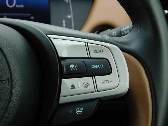 ACC(アダプティブクルーズコントロール)・高速道路等の移動の際にあらかじめ設定した車速内で車が自動的に加減速を行い前走車との車間距離を維持しながら追従走行する事でドライバーの運転負荷を軽減する機能