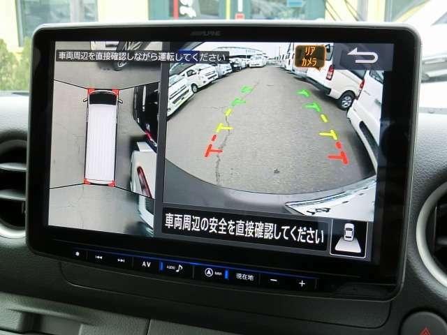 社外メモリーナビゲーション(アルパインXF11Z)が装備されています。DVDビデオ&フルセグTVの視聴が可能です。Bluetooth対応です。迫力のフローティング大画面11型液晶モニターです。