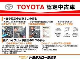 『TOYOTA認定中古車』は「まるごとクリーニング」で綺麗な内外装、「車両検査証」はプロによるチェック、買ってからも安心の「ロングラン保証」、3つの安心安全を標準装備したトヨタのブランドU-Carです