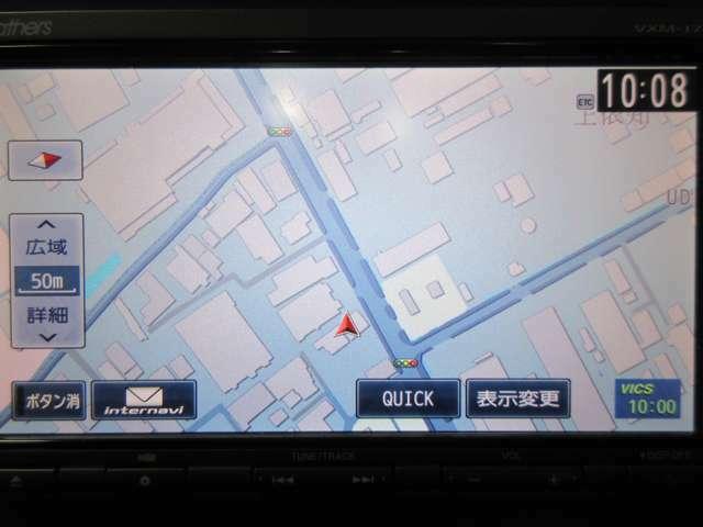 ナビは純正のインターナビを使用。インターナビで渋滞情報や天候をタイムリーにナビが教えてくれます。