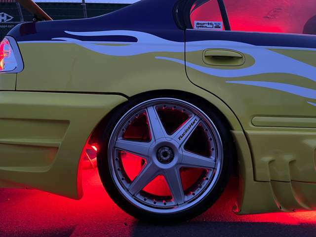 R・当時物タケチプロジェクト・レーシングハート18インチAW+ミネルバ新品夏タイヤ!(OP設定)グラントピレックス18インチAW装着!